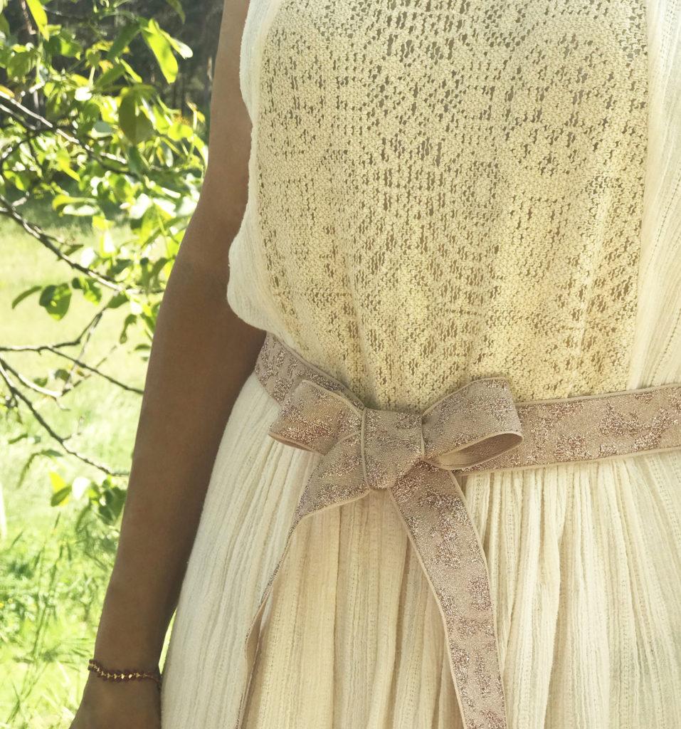 Gros nœud en ruban jacquard métallisé Satab en ceinture de robe